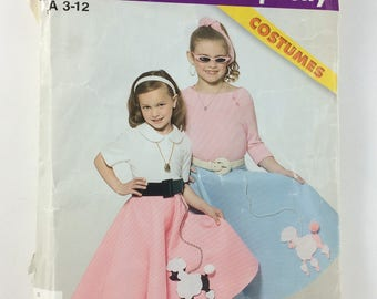 Simplicity Sewing Pattern Costume Circle Skirt 4913 Size 3-12 Cut Poodle Skirt