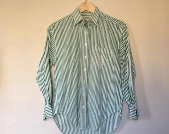 Green & White Striped Vintage Banana Republic Buttondown Blouse / Oxford
