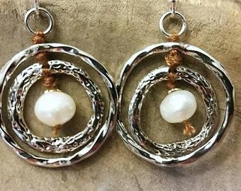 Silver And Pearl Hoop Earrings