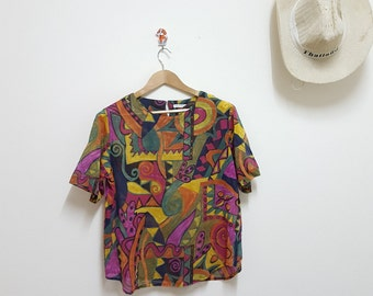 Vintage Blouse,Abstract Modern ,Art Blouse, Colorful Blouse, Summer top crop