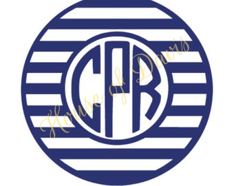 Striped Circle Vinyl Monogram Decal