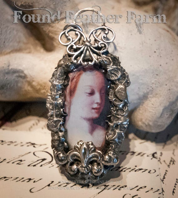 Handmade Jewelry Pendant with Vintage Rhinestones and Silverplated Detail