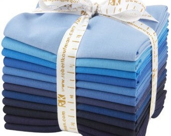 """Kona Cotton Fat Quarter Bundle """"From Dusk to Dawn"""" by Robert Kaufman -12 different fat quarters shades of blue to navy."""