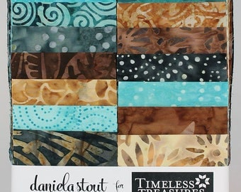 """Timeless Treasures Strip Treat """"True Love"""" by Daniela Stout- 20- 2 1/2 inch strips - jelly roll - strip set, teal and brown batiks"""