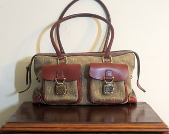 Vintage Dooney & Bourke Fabric And Brown Leather Trim Handbag- VGC