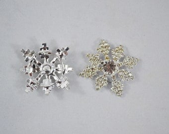 Rhinestone And Metal Snowflake Buttons, Rhinestone Crafting Button