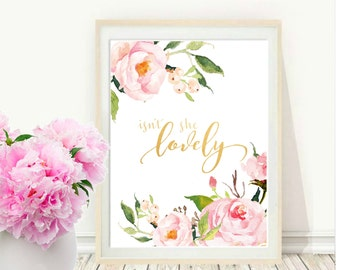 Nursery Quote, Isn't She Lovely, Floral Quote Print, Baby Girl Nursery, Baby Shower, Christening Gift, Printable Art, Instant Download