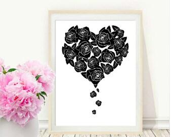 Printable Wall Art, Rose Heart Print, Black Roses, Heart Print, Modern Wall Art, Instant Download, Wall Decor, Gallery Wall