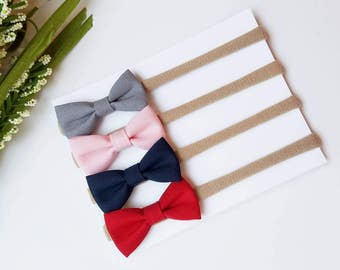 Nylon Baby Headbands   Small Bows   Little Baby Bows   itty bitty bows, gray, pink, navy, red. Set of 4 headbands. Baby Headband Set