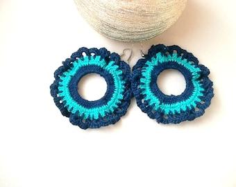 Crochet earrings, Turquoise flowers crochet earrings, Lace hoops, Doily hoops, Thread earrings, Big earrings, Knitted earrings