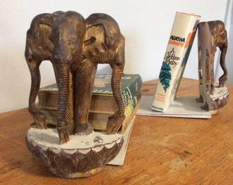 Pair Decorative Elephant Bookends, Vintage Carved Wood Bookends, French Find, Eclectic Home Decor