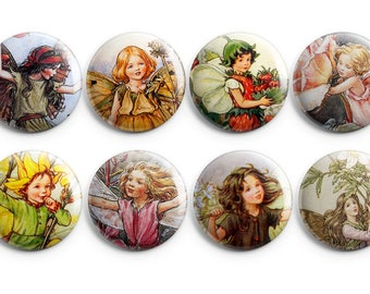 "Fairy buttons - Set of 8 - 1.25"" Pinback Buttons, Magnets, or Flair, Fairy magnets, Fairies, Project Life, Fairy badges, fairy pins"