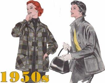 "1950s Jacket Pattern Shirt Jacket BUTTERICK 7044 bust 34"" Box Jacket Pattern Retro Jacket Boyfriend Jacket Vintage Jacket 50s Jacket Pattern"
