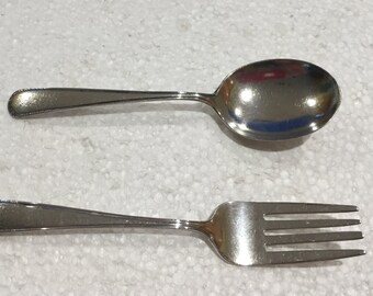 Vintage Sterling Silver Baby Fork and Spoon