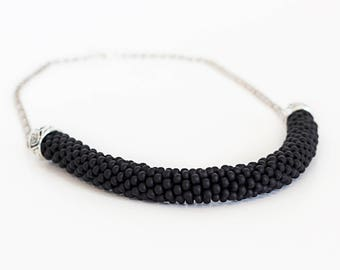 Beaded Necklace, black Necklace, Beaded Rope, gift, crochet necklace, Bead Necklace, Statement Necklace, Beaded Jewelry, Minimalist jewelry