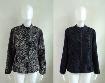 40%offAug15-17 reversible leopard jacket size medium PM, 90s coldwater creek textured cheetah animal print womens jacket, black purple