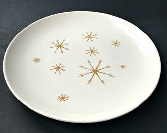 "Star Glow by Royal China 12"" Chop Plate. Mid Century Atomic Snowflake Pattern Serving Platter."