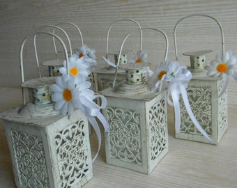 Set of 6 Mini Lanterns,Wedding Candle Holders, Wedding Centerpiece ,Moroccan Mini Lanterns ,Rustic Lantern,Home Decor,Vintage  Lantern