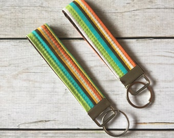 Stripe Key Chain - Stripe Key Fob - Stripe Wristlet Strap - Stripe Key Ring - Key Fob - Key Chain - Wristlet Strap - Under 10