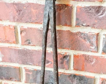 Antique Blacksmith Tongs Primitive Tool Hand Forged Large