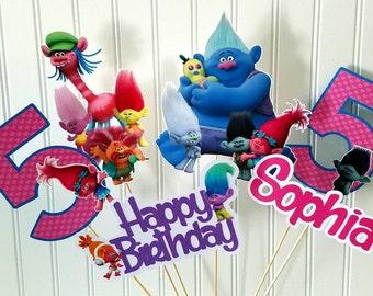 Trolls Party Centerpiece Picks, Trolls Centerpieces, Trolls Party Picks, trolls party, Trolls Birthday supplies, Trolls party decor