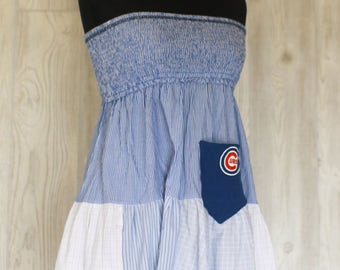 ReFashion Chicago Cubs Baseball Game Day tunic Eco Friendly OOAK dress