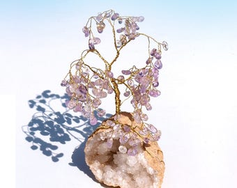 Beautiful Amethyst Gem Crystal Tree, on white drusy quartz geode. Hand crafted wire, tree of life, meditation, decor