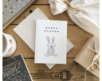 Hoppy Easter // easter card, funny easter card, cute card, funny card, holidsy card, bunny, punny, pun card, funny holiday card, bunny card