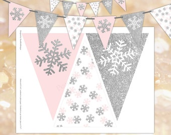 Snowflake banner (INSTANT DOWNLOAD) - Winter onederland banner - Winter banner - Printable banner -Birthday banner BI007