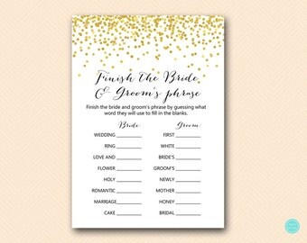 Gold Dots Bridal Shower Games, Finish the Bride and Groom Phrase, Finish the Sentence, Coed Bridal Shower, Bridal Shower Game Download BS46