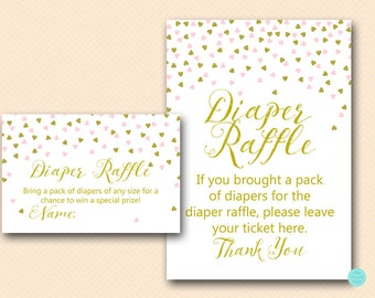 Pink and Gold Baby Shower Games, Diaper Raffle Ticket, Diaper Raffle Sign, Diaper Raffle Printable, Shower Activities, Shower Games, TLC488P