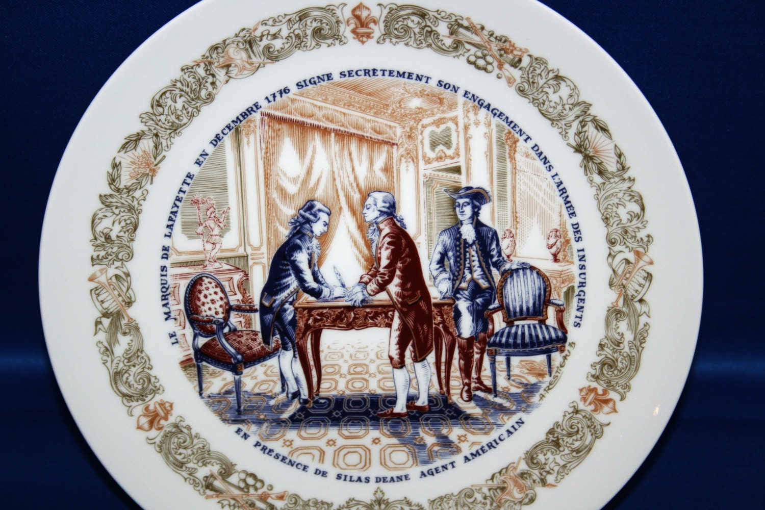 vintage d 39 arceau limoges collector plate en presence de silas deane agent americain 994 kpp. Black Bedroom Furniture Sets. Home Design Ideas