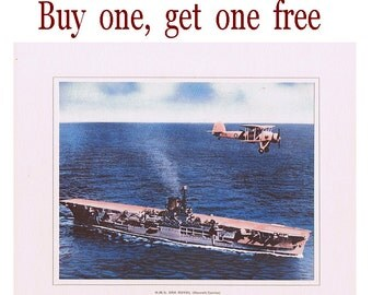 SALE - Vintage Aircraft Carrier Print - H.M.S. Ark Royal - Buy one and get one free - Second World War - WWII - Royal Navy - Memorabilia