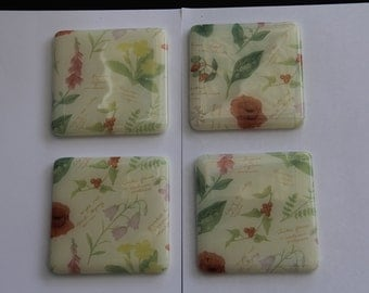 4 flower fused glass coasters, fused glass coasters,  botanical coasters, fused glass, flower coasters, fused glass, wild flower coaster