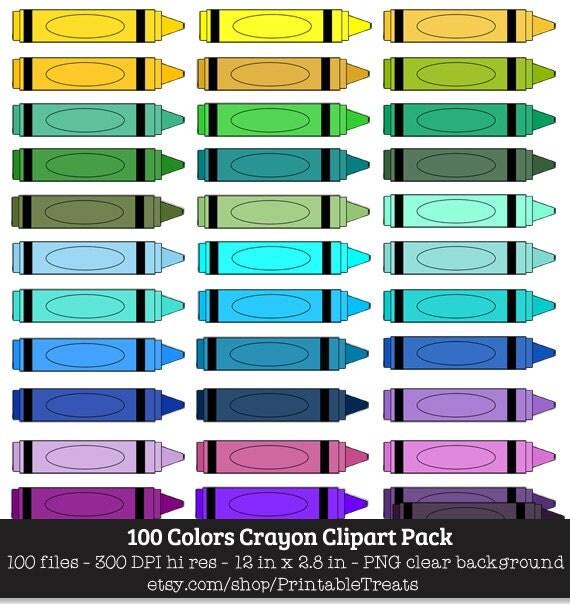 100 Colors Crayon Clipart
