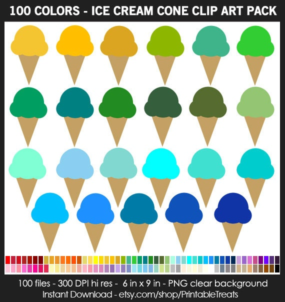 100 Colors Ice Cream Cone Clipart Pack Commercial Use
