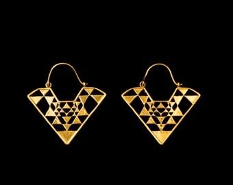 SRI YANTRA triangle earrings