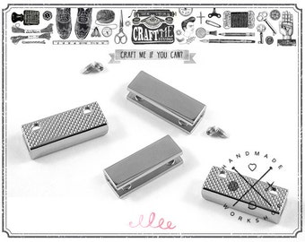 5 Sets 1 INCH SILVER Pointed Strap End Caps or Zipper Ends