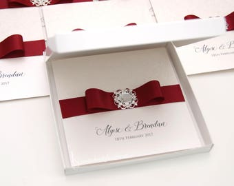Embossed, ivory & burgundy, boxed, pocket wedding invitation with Victorian brooch  - PERSONALISED SAMPLE