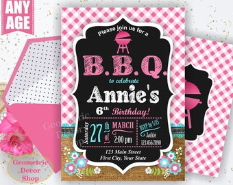 BBQ Plaid Birthday Party Invitation Invite Rustic 1st Birthday Pink Girl Neutral Burlap denim barbecue barbeque Photo Photograph BDBBQ3