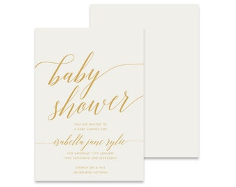 Baby Shower Invite, Happiness Gold, Print Yourself Baby Shower Invitation, Baby Sprinkle, Books for Baby, DIY Printable Invite