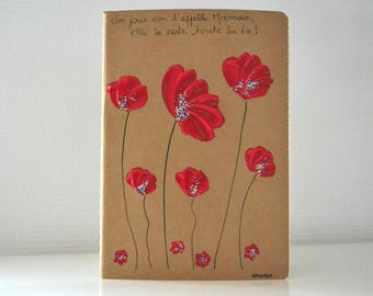 Notebook poppies painted by hand, romantic women's book, art book