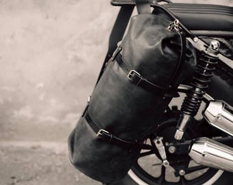 Duffel Pack by Kruk Garage Duffel bag Travel bag Black Leather mens bag Leather duffle bag Weekender Men's gift Luggage Large bag