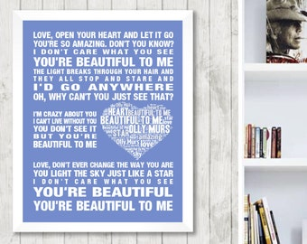 OLLY MURS Beautiful To Me Music Love Song Lyrics Word Art Print Poster Memorabilia Heart Design Wall Decor Framed Picture Gift Free UK Post