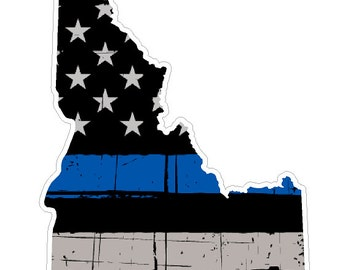 Idaho State (V13) Thin Blue Line Vinyl Decal Sticker Car/Truck Laptop/Netbook Window