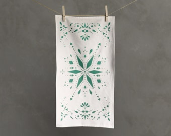 Green Star Tea Towel with Screen Printed Pattern | Dish Towel | Kitchen Towel | Dish Cloth