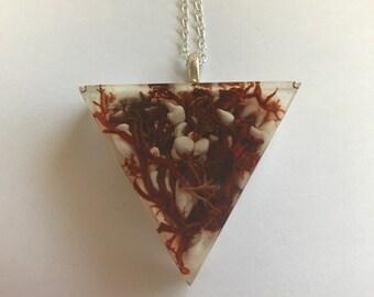Chocolate Lichen Pendant - Triangle