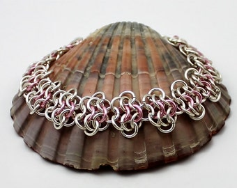 Silver Plated Chainmaille Bracelet, Pink Bracelet, Silver Bracelet, Silver Plated Bracelet, Chain Mail Bracelet, Chainmail Bracelet