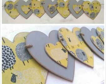 Yellow & Grey Sheep wooden bunting