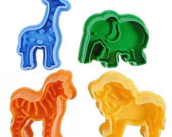 Jungle animal Cookie cutter 4pcs/set  3D animal cake mold Vegetable mould cake cutter baking mould fondant fruits kitchen tool jelly